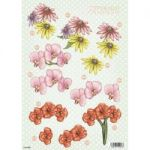 "3D Die-Cut Decoupage Sheet 8.3""X11.69"" - Polka Dot Flowers Daisy & Orchid"