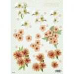 "3D Die-Cut Decoupage Sheet 8.3""X11.69"" - Polka Dot Flowers Trillium & Orange"