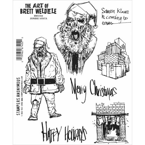"Stampers Anonymous - Brett Weldele Cling Stamps 7""X8.5"" - Zombie Santa"