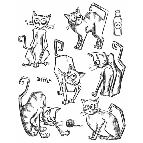"Tim Holtz - Collection - Stampers Anonymous - Cling Rubber Stamp Set 7""X8.5""- Crazy Cats"