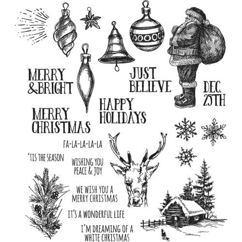 "Tim Holtz - Collection - Stampers Anonymous - Cling Rubber Stamp Set 7""X8.5""- Holiday Drawings"