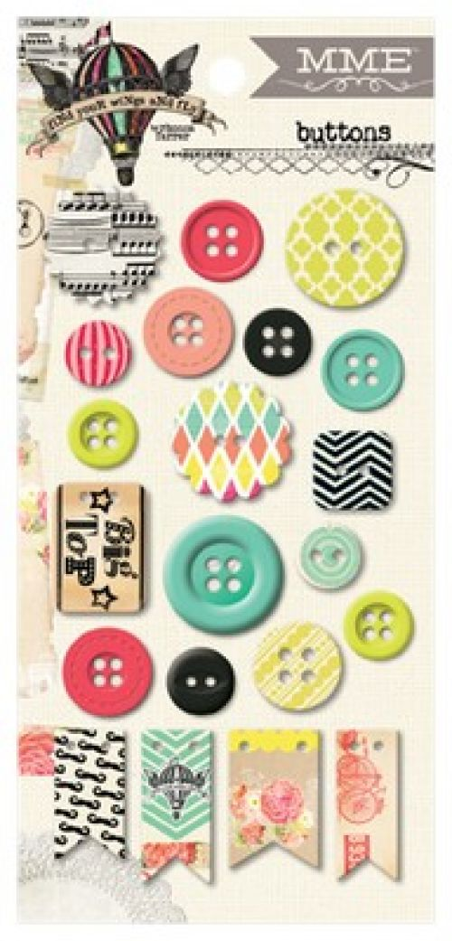 My Minds Eye - Find Your Wings and Fly - Up and Away Chipboard Buttons