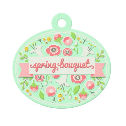 We R Memory Keepers - Simply Spring - Embossed Tag - Bouquet