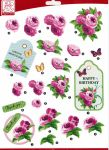 "Sullivans - 3D Die-Cut Decoupage Sheet 8.3""X11.69"" - Flowers Happy Birthday"