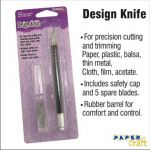 Paper Craft Design Knife 15.5CM 5 spare blades and safety cap